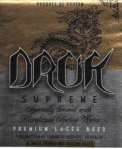 Details About Bhutan Druk Supreme Beer Labels