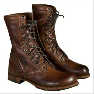 7dd866aea54 Mens Brown High Top Retro Military Leather Ankle Boots Lace Up Punk ...