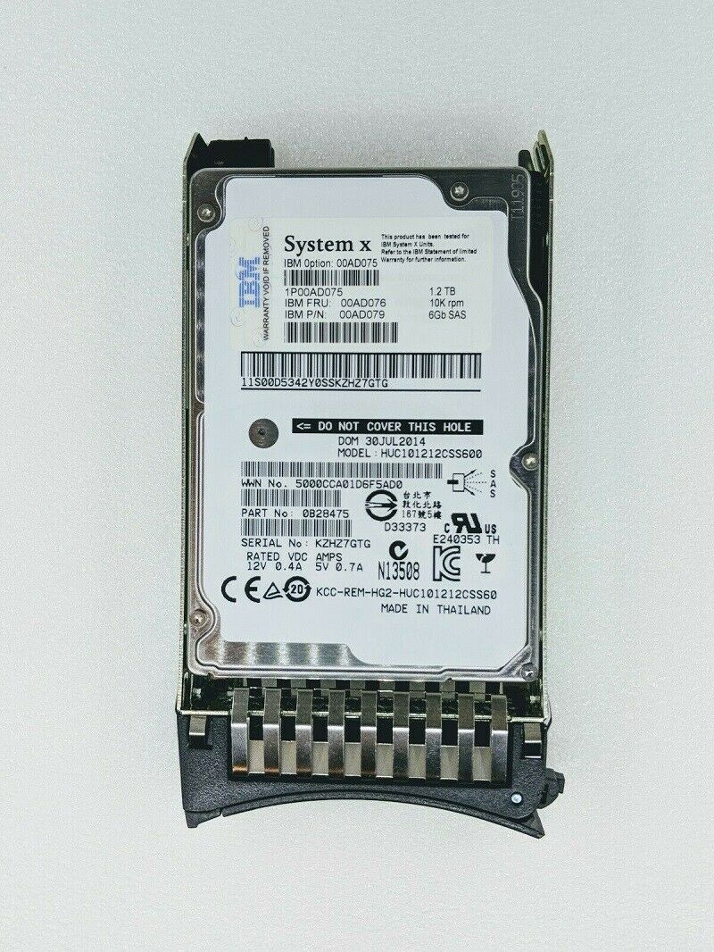 "NEW IBM LENOVO 00AD075 00AD076 00AD079 1.2TB 2.5 /"" 10K SAS 6G HDD Hard Drive"