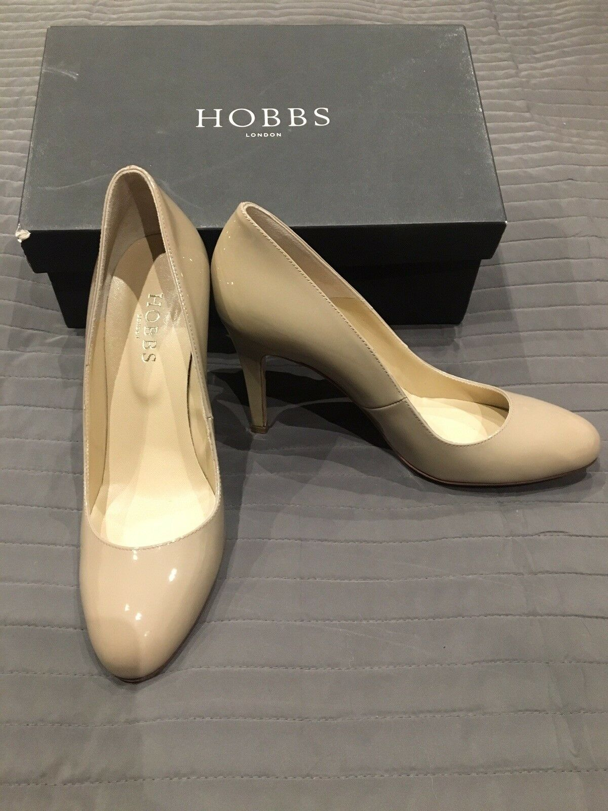 Hobbs Nude Charol Charol Charol Rebecca Court zapatos. Talla 39.5. usado una vez. 975a86