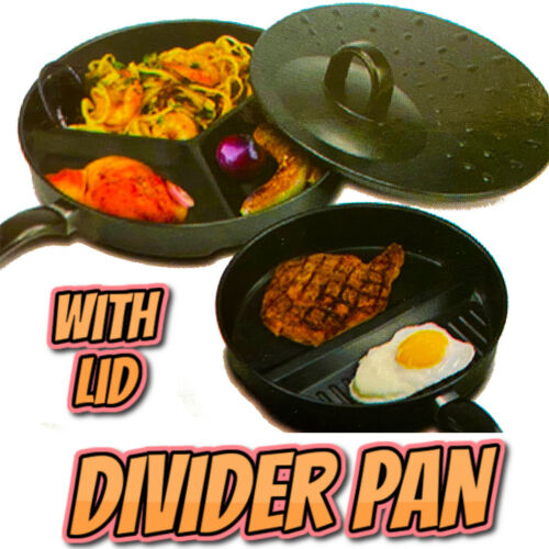 Healthy 3 in 1 Divider Non-Stick Frying Pan Set Breakfast Skillet Divided /& Lid