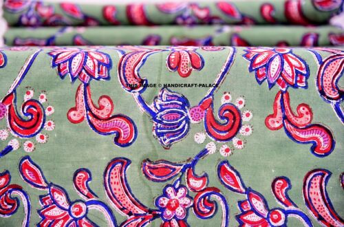 Indian 10 Yards Voile Cotton Fabric Hand Block Print Natural Dye Pattern Fabric