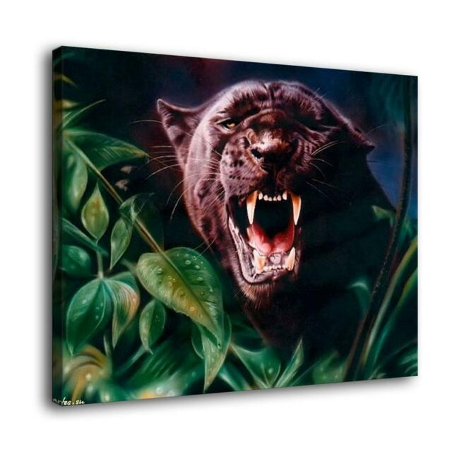 """Jaguar Growling Panther Canvas Art Print By: 12""""x16""""Black Panther Poster HD Canvas Print Painting Home"""