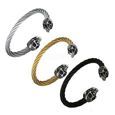 Stainless Steel Skull Head End Twisted Cable Bangle Cuff Bracelet Men's Jewelry