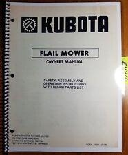 Kubota R48 Y R48 Yr R60 Y Flail Mower Owners Operators Amp Parts Manual 779