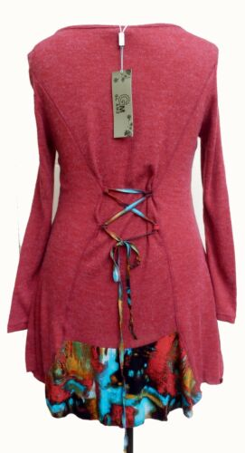 Quirky Boho Red Knit Fabric Patchwork Tunic Dress SIZES 18 /& 20