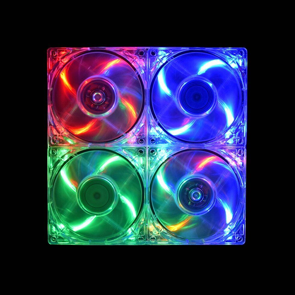 80mm 0.18A 12V Clear 4-LED Blue Neon Light PC Computer Case Cooling Fan 8025