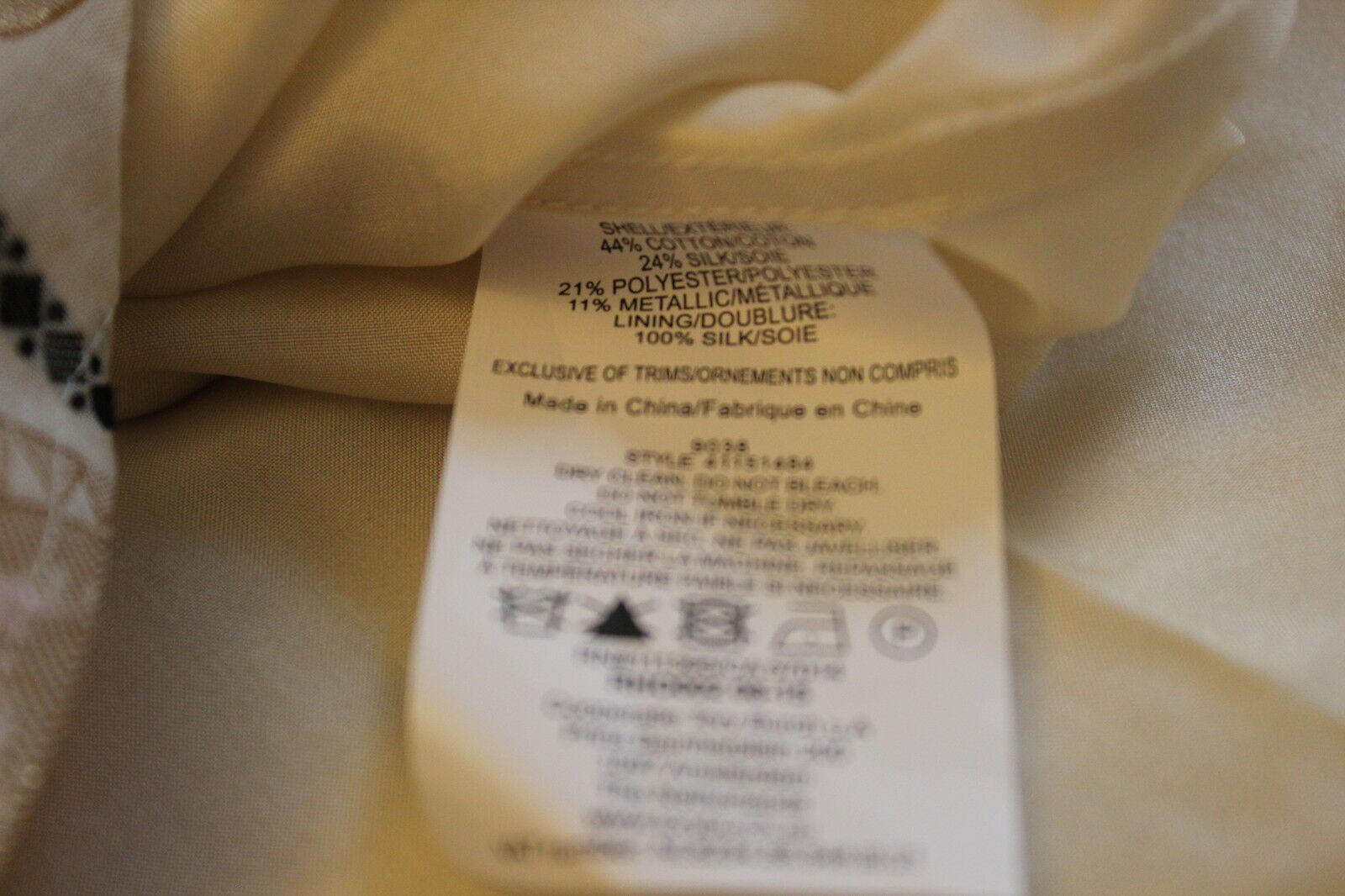 NWT Authentic TORY TORY TORY BURCH Jacquard Silk Blend Sleeveless Dress Ivory  Sz 10  595 688054