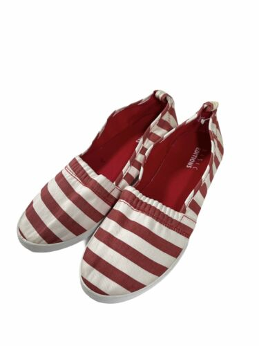 White Basic Editions Women/'s Size 11 Flats A-Line Slip-On Shoes Pinstripe Red