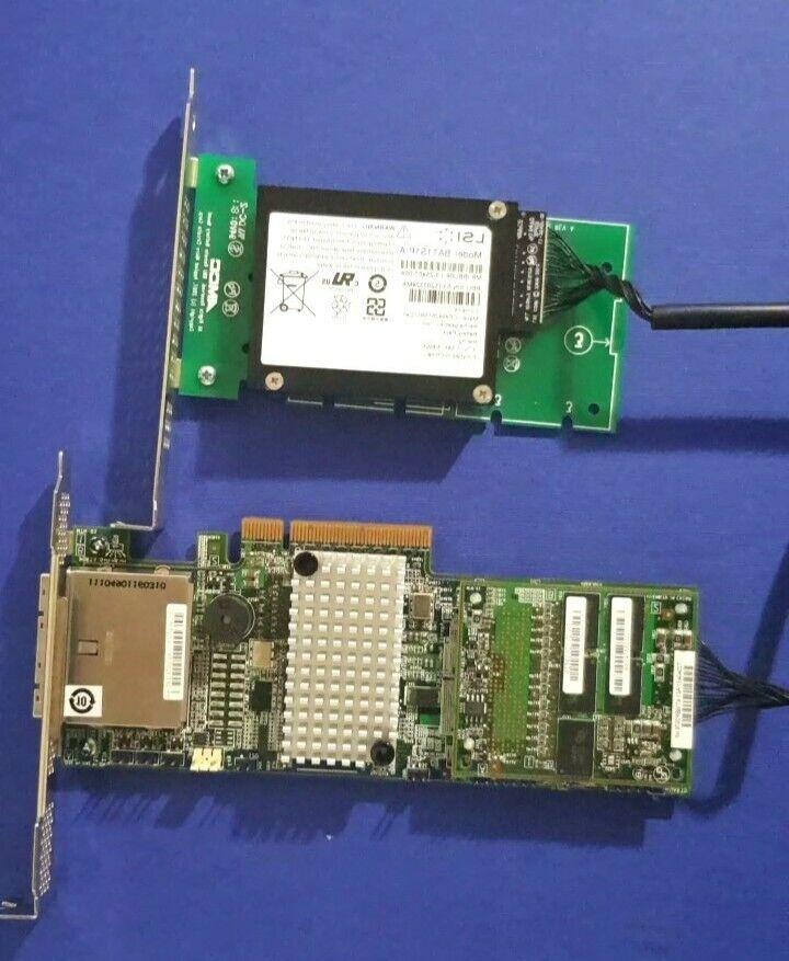 LSI MegaRaid MR SAS 9285-8e Controller Card L3-25367-00C w/ 1GB cache & battery