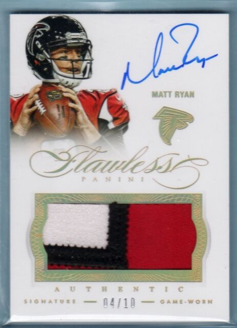 2014 Flawless Matt Ryan Auto 3 Color Game Used Jersey Patch /10 Falcons