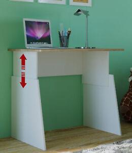 Schreibtisch-Sonoma-weiss-80cm-hoehenverstellbar-55-75cm-variable-Hoehe-Kind-Jugend