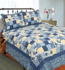 BLUE YELLOW PATCH Full Queen QUILT SET : GINGHAM COTTAGE SHABBY COUNTRY FLORAL