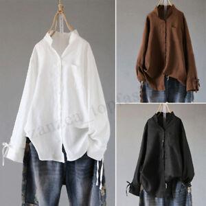 8718d96f717c7 ZANZEA Women s Casual Long Sleeve Loose Blouse Shirt Plain V Neck ...