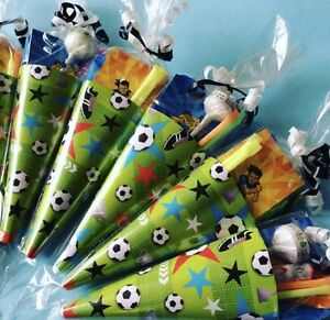 26225f96670c x5-15 Football Party Cones Party Bags Sweet Cones Football Party ...