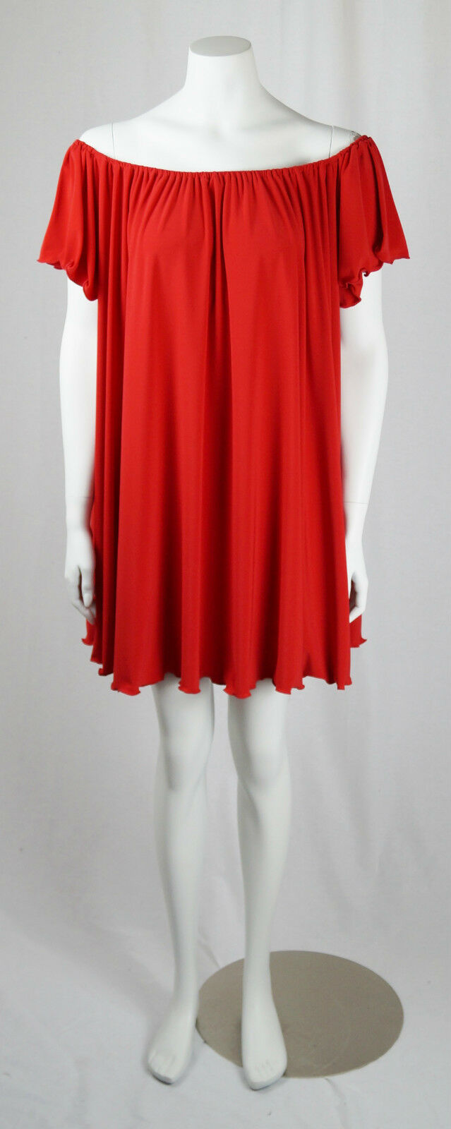 Baylis & Knight rot BARDOT Slash Neck OverGröße JERSEY SWING Drape Dress Smock