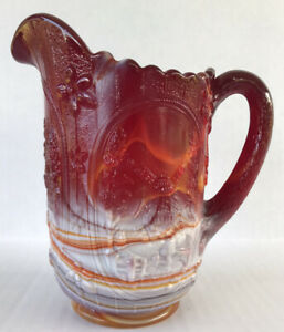 Vintage-Imperial-Glass-Slag-Pitcher-Ruby-Red-White-Windmill-6-1-2-034