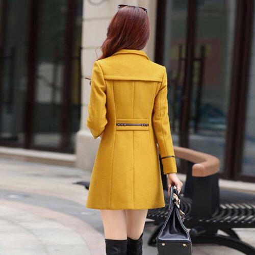 Winter Women Slim Fit Warm Trench Coat Long Wool Jacket Outwear Jackets M-3XL