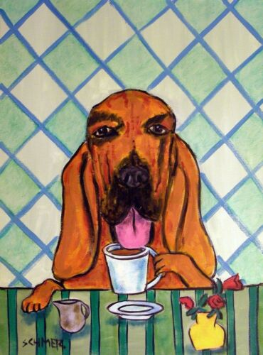 COFFEE art PRINT of a BLOODHOUND dog gift modern folk JSCHMETZ 8x10