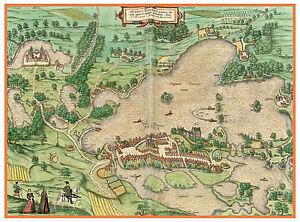 Plon-Schleswig-Holstein-Germany-bird-039-s-eye-view-map-Braun-Hogenberg-ca-1598