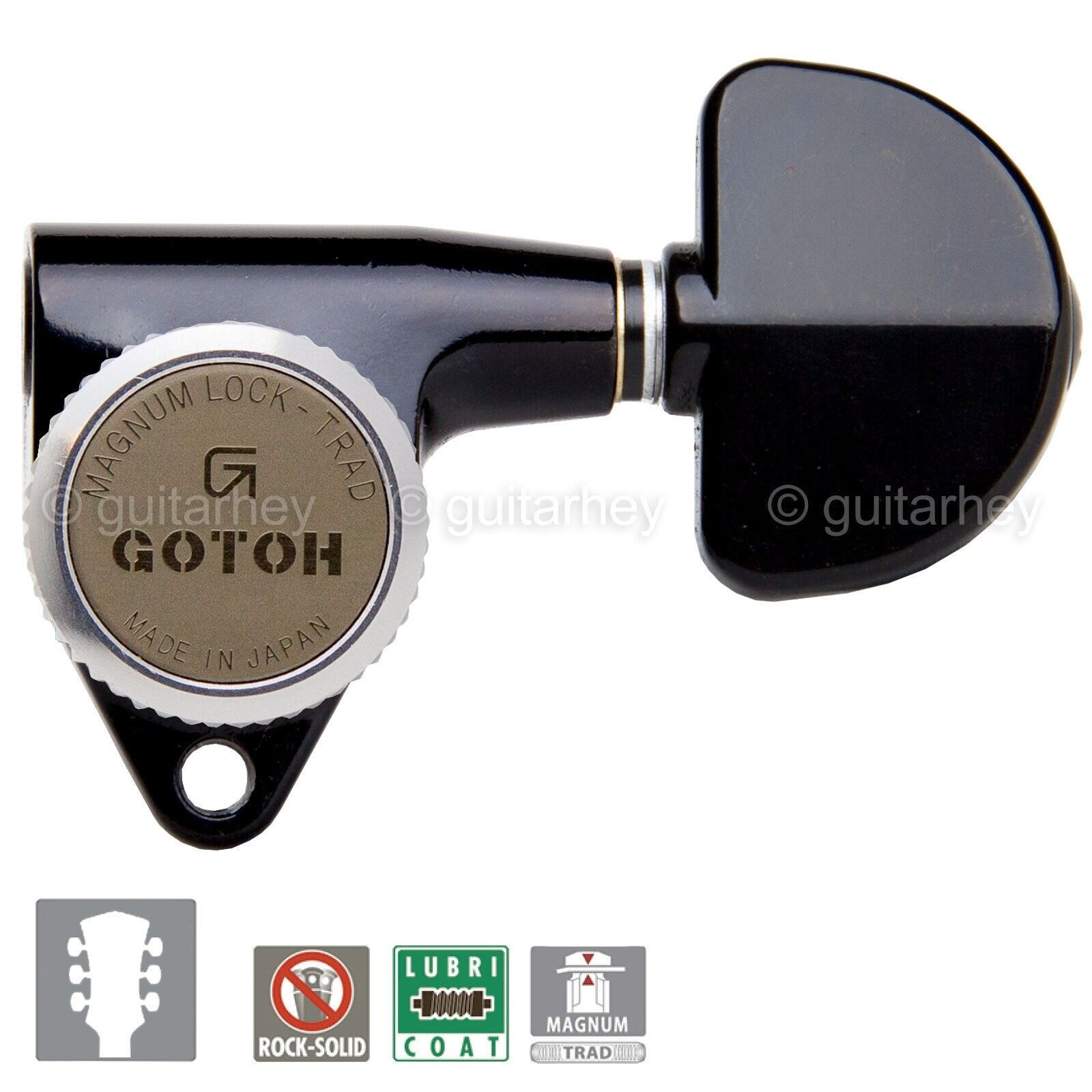 NEW Gotoh SG301-20 MGT Magnum Lock Trad Locking L3+R3 Tuning Keys 3x3 - schwarz