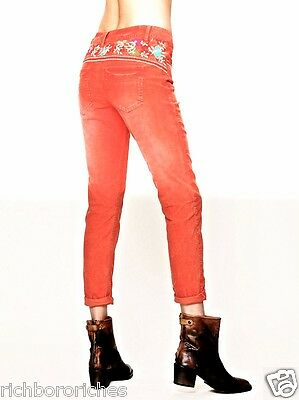 Free People Jeans Corduroy Skinny Wash Orange Embroidered Stretch 24 Nwt Ebay