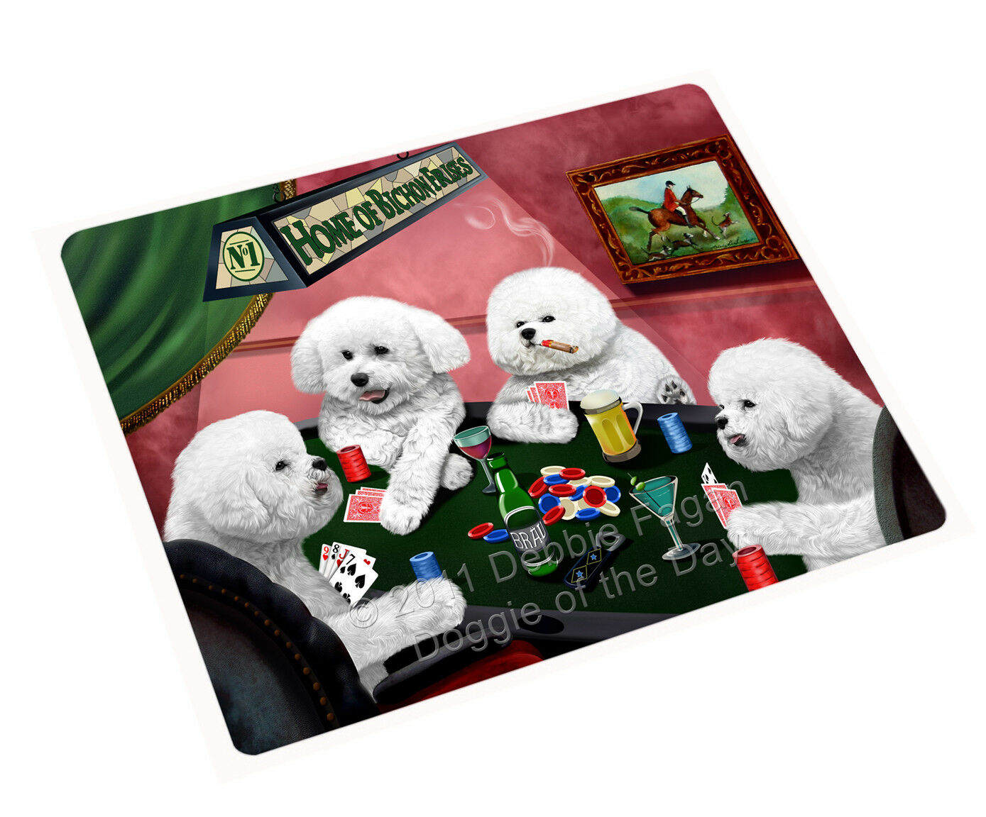 Home of Bichon Frise Hunds Playing Poker Woven Throw Sherpa Blanket NWT