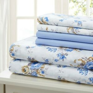SHEET-SET-QUEEN-6-PIECE-COTTON-PERCALE-PRINT-SOFT-DEEP-POCKET-FREE-WASH-CLOTH