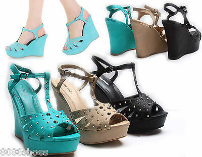 New Studded Spike Open Toe T- Strap Platform Wedge Women's Shoes Size 5 - 10