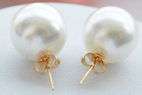 Superbe grande 12 mm round white SOUTH SEA SHELL PEARLS Or Boucles D/'oreilles Clou