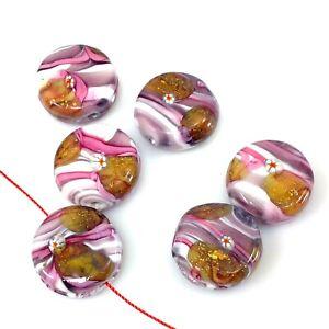 Handmade-Lampwork-Glass-Beads-Golden-Foil-Pink-Strip-Patten-Bead-20mm-Artisan