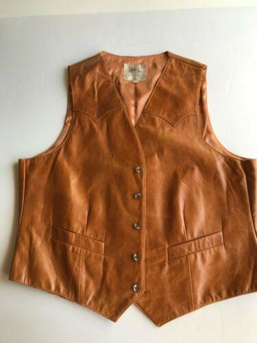 H Bar C Vintage Mens Leather Vest Size L