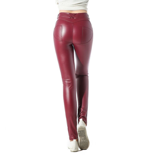 Damen Leder Push Up Fitness Leggings Clubwear Leggings Wetlook Optik Legging SF