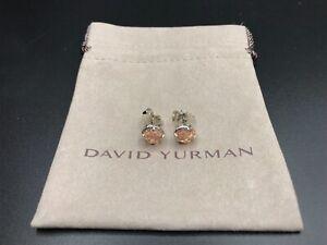 DAVID-YURMAN-Chatelaine-Sterling-Silver-W-8mm-Morganite-Stud-Earrings-NWOT-395