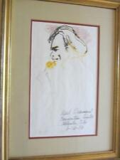 "Leroy Neiman ""Neil Diamond"" 6/16/1984 Atlantic City Framed Hand Signed pen & ink"