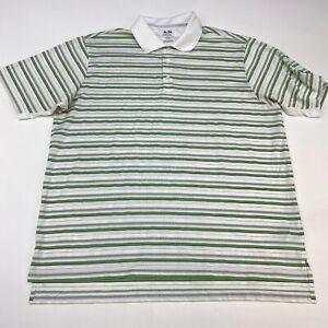 Adidas-Climacool-Golf-Polo-Shirt-Mens-XL-Short-Sleeve-White-Gray-Green-Polyester
