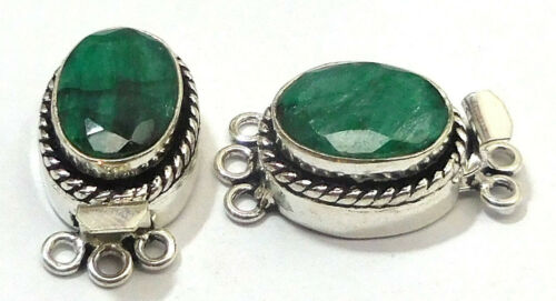 2 PCS OVAL EMERALD BOX CLASP 3 STRAND OXI STERLING SILVER PLATED 620 Q33-A335