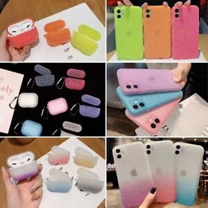 Glitter Case For iPhone 12 11 Pro XR XS Max 8 7 Plus AirPods Case TPU Shockproof