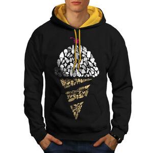 Art Hood Contrast Black gold Food New Cream Men Cold Hoodie Ice 1qCw5Fnv