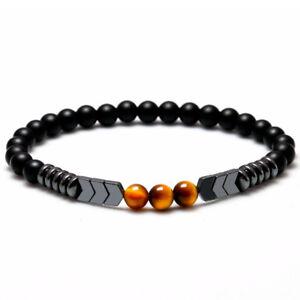 Natural-Matte-Onyx-Bead-Hematite-Arrow-Tiger-Eye-Stone-Energy-Bracelet-Men-Women