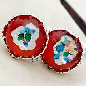 Vintage-1950s-Red-Glass-Opal-Silver-Leaf-15mm-Round-Silver-tone-Crown-Cufflinks
