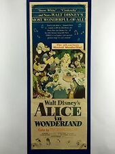 ALICE IN WONDERLAND Original Insert Movie Poster 1951 Walt Disney Lewis Carroll