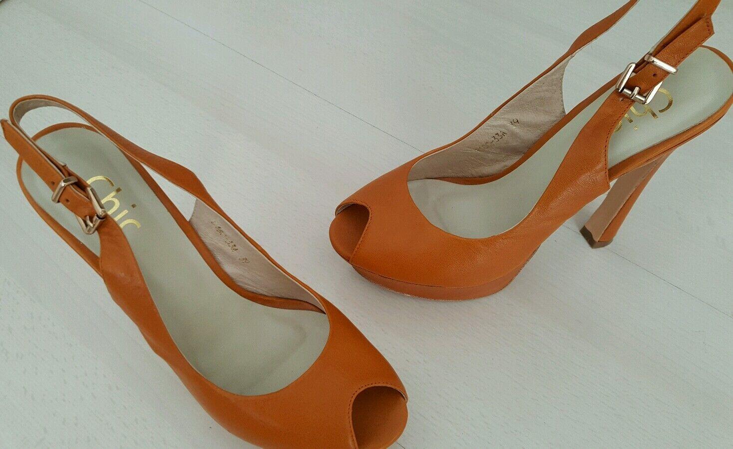 Chic Damen Schuhe Pumps High Heel Leder ausgefallen  gr.39
