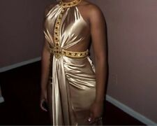 Gold floor length prom dress