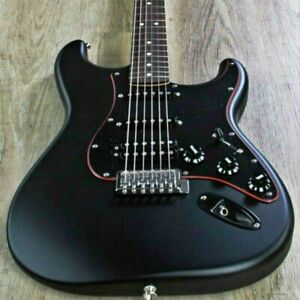 Naughty boy st electric guitar black color solid body black guard with red line