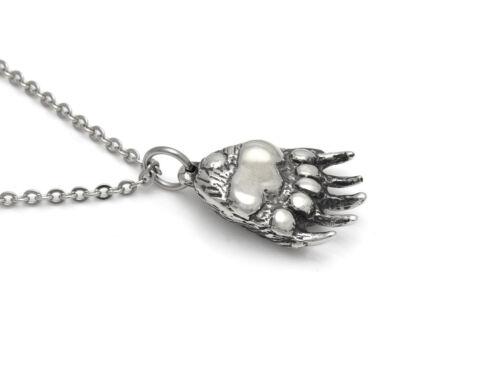 Grizzly Bear Claw Pendant Necklace Handmade Metal Wild Animal Paw Charm Jewelry