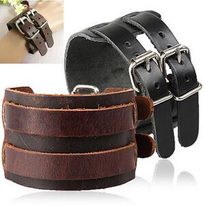 Unisex-Wide-Genuine-Leather-Belt-Bracelet-Bangle-Cuff-Wrist-Band-Cool-Gift-CO