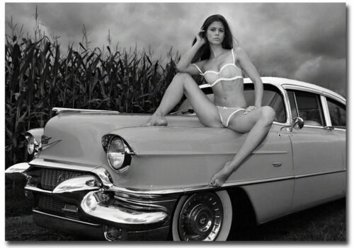 """Old Car Hot Girl Black /& White Refrigerator Magnets Size 2.5/"""" x 3.5/"""""""