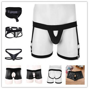 Men-See-Through-Boxer-Brief-Underwear-Leather-Breathable-Underpants-Trunk-Shorts