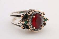 Turkish Reversible Oval Emerald Ruby Jade Topaz 925 Sterling Silver Ring Size